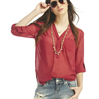 Lace Inset Chiffon Popover Top | Wet Seal