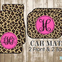 Personalized Leopard and Hot Pink Car Mats-Design Your Own Custom Car Mats