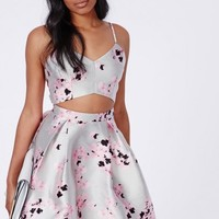 Missguided - Floral Cut Out Skater Dress Silver