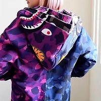 BAPE new cotton terry hit color hooded hoodie