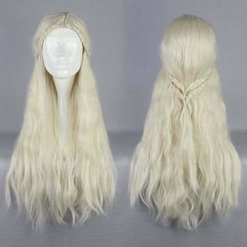 Supreme Halloween Synthetic 75cm Long Curly Beige Game of Thrones Daenerys Targaryen Cosplay Wig,Colorful Candy Colored synthetic Hair Extension Hair piece 1pcs WIG-016