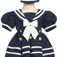 Navy Blue Classic Nautical Sailor Dress with White Trim & Beret Style Hat (Baby or Toddler Girls)