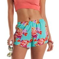 Mint Flowy Floral Print High-Waisted Shorts by Charlotte Russe