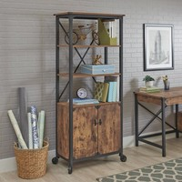 Better Homes and Gardens Rustic Country Library with Doors, Weathered Pine Finish - Walmart.com