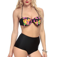 Floral Print Bow Appetite High Waist Two Piece Swimsuit