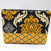 Gray and yellow damask print cosmetic case, makeup bag, toiletry bag, clutch, gadget bag, travel tote