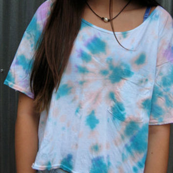 Pastel Pink Blue Purple Tie Dye American Apparel Mid-Length Pocket Crop Top Tee Shirt