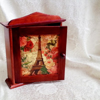 French Paris brown vintage retro wooden key box cabinet wall decor hand painted decoupage hanging key box gift idea