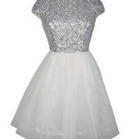 Capsleeve Mini Sequin And Tulle