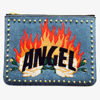 Angel Fire Denim Clutch