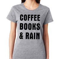 Grey Coffee Books & Rain Crewneck Tee