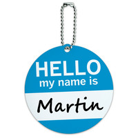 Martin Hello My Name Is Round ID Card Luggage Tag