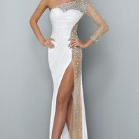 Asymmetrical Metallic Jersey Gown by Landa Designs Signature Pageant