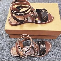 Louis Vuitton LV Hot Sale Women Leather Slipper Sandals Shoes