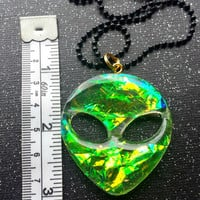 Holographic Green Alien Pendant / Gothic Alien Jewelry / Pastel Grunge Jewelry / Creepy Alien Necklace / Pastel Goth / 90's Alien Grungy