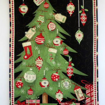 Advent Calendar, Quilted Wall Hanging, Christmas Tree, Calendar with Treat Pockets, Children Activity Calendar, Quiltsy Handmade
