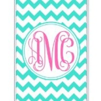 iZERCASE Monogram Personalized Turquoise Chevron with Pink Initials Pattern RUBBER iphone 5 / iPhone 5S case - Fits iphone 5, iPhone 5S T-Mobile, AT&T, Sprint, Verizon and International (White)