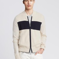 Banana Republic Mens Textured Zip Sweater Jacket