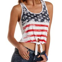 Knotted American Flag Tank Top by Charlotte Russe
