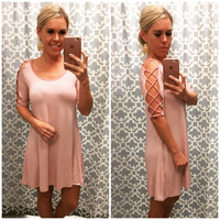 Caged Dress: Dusty Rose