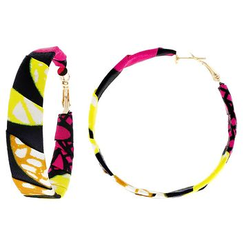 50mm African Print Fabric Hoop Earring