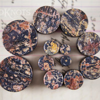 Leopard Jasper Stone Plugs - Double Flared - 1 Pair - 6mm - 8mm - 10mm - 11mm - 12.7mm - 14mm - 16mm - 19mm - 22mm - 25mm - Organic