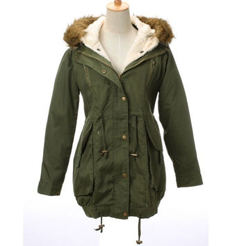 Women's Thicken Fleece Winter Warm Faux Fur Coat Zip Hooded Parka Jacket(Army greenSize S-XXL) = 1930477572