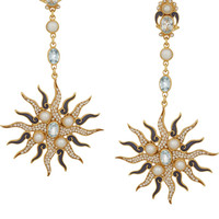 Percossi Papi - Sun gold-plated, topaz and pearl earrings