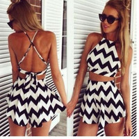 CUTE BLACK AND WHITE JUMPSUIT ROMPER