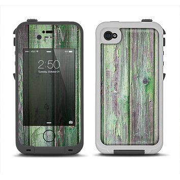 The Mossy Green Wooden Planks Apple iPhone 4-4s LifeProof Fre Case Skin Set