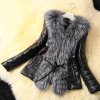Women Faux Fur Leather Coat Jacket Warm Outwear SV004746|40901 = 1932611908