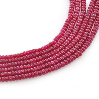 High Quality Ruby Beads Smooth Rondelle Beads Jewelry Size 3-4 mm, Length 34 cm, A+ Grade, Beads Supplies