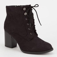 SODA Lace Up Womens Heeled Booties | Boots & Booties