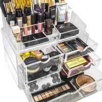 Sorbus® Acrylic Cosmetics Makeup and Jewelry Storage Case X-Large Display Sets -Interlocking Scoop Drawers to Create Your Own Specially Designed Makeup Counter -Stackable and Interchangeable