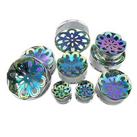 Pair of Double Flared Stainless Steel Rainbow Plated Mandala Inlay Plug (10MM 00G)