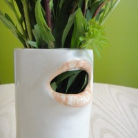 Quirky ceramic cylinder mouth vase