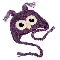 Purple & Pink Owl Crochet Beanie - Almost sold out!