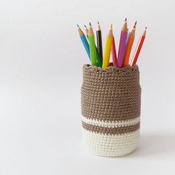 Crochet organizer, cotton pen holder, eco friendly pencil organizer, desk accessory, upcycled glass office decoration, kids room decor
