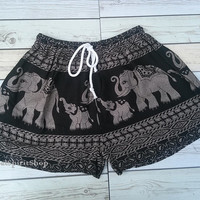 Black Elephants Unique Boho Print Summer Beach Shorts Chic Fashion Tribal Aztec Ethnic Clothing Bohemian Ikat Cloth Hobo Cute comfy Festival