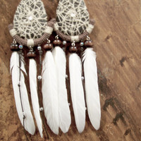 Extra Long White Tribal Feather Earrings