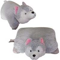 "WOLF PET CUSHION ANIMAL PILLOW WHITE, LARGE 18"" HUSKY ""PLUSH & PLUSH"" BRAND"