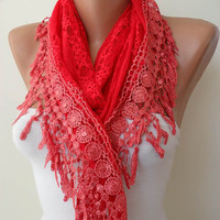 Red Shawl Red Lacy Fabric and Special Red Lace by SwedishShop