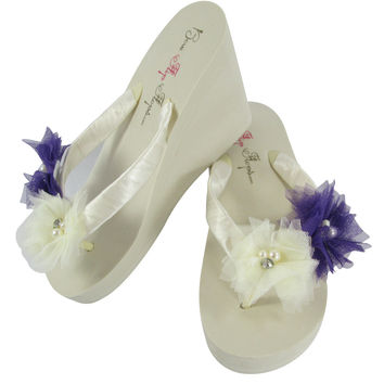 Purple Ivory Wedges for the Wedding, Bride & Bridesmaids with Tulle Flowers