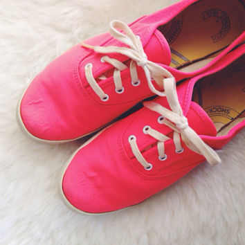 vintage RARE NEON KEDS hot pink orange tennis shoes