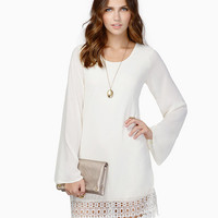 White Long Sleeved Chiffon Dress with Crochet Hemline