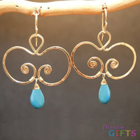 """Hammered swirls with turquoise, 1-3/4"""" Earring Gold Or Silver"""