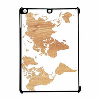 World Map On Wood Texture Print White iPad Air Case