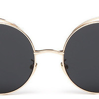 Thin Laser Cut Metal Circle Cat Eye Sunglasses Black