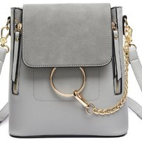 Fashion Chain Backpack Purse - Grey