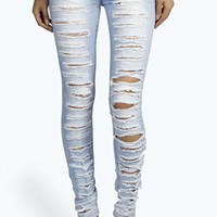 Evie Low Rise Shredded Leg Skinny Jean